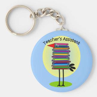 """Teacher's Assistant """"Book Bird"""" Design Basic Round Button Keychain"""