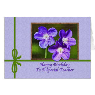 Teacher's Birthday Card with Purple Violas
