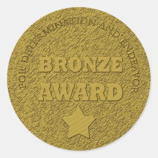 "Teacher's ""Bronze Award"" Motivational Round Sticker"