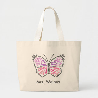 Teacher's Butterfly Word Art Large Tote Bag
