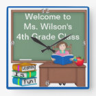 Teacher's Chalk Board Female Square Wall Clock