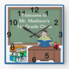 Teacher's Chalk Board Male Square Wall Clock