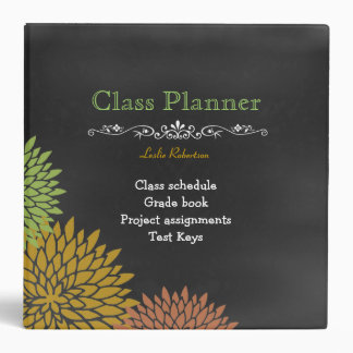 Teacher's Floral Chalkboard Custom Binder
