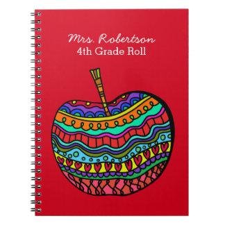 Teacher's Folk Art Apple Notebook