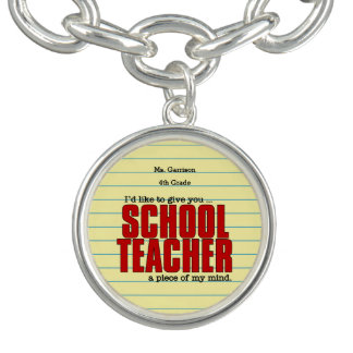Teacher's Funny Play on Words in Red and Yellow Charm Bracelet