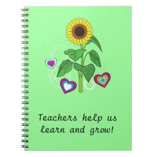 Teachers Gift Sunflower Notebook