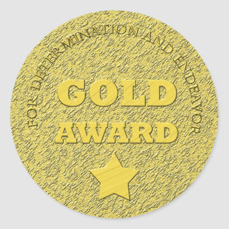 "Teacher's ""Gold Award"" Motivational Round Stickers"