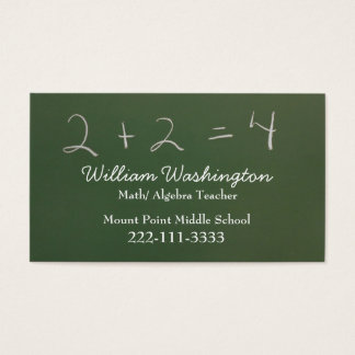 Teacher's Green Chalk Board Business Card