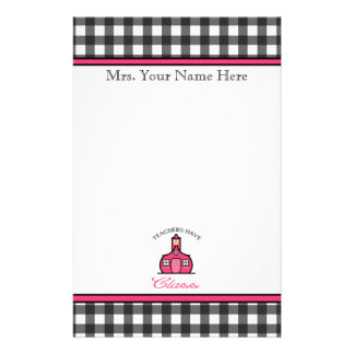Teachers Have Class - Charcoal Gray Gingham Stationery