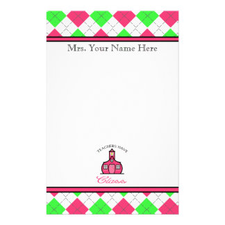 Teachers Have Class - Pink &Green Argyle Stationery
