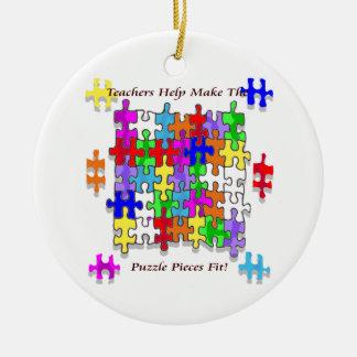 Teachers Help Make The Pieces Fit - Autism Awarene Round Ceramic Ornament