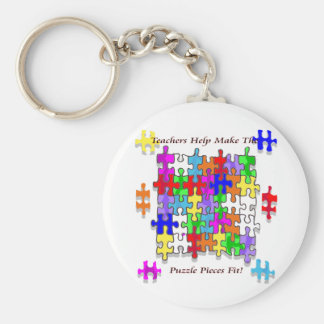 Teachers Help Make The Puzzle  Pieces Fit Basic Round Button Keychain