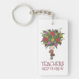 Teachers Help Us Grow Flower Bouquet Gift Keychain