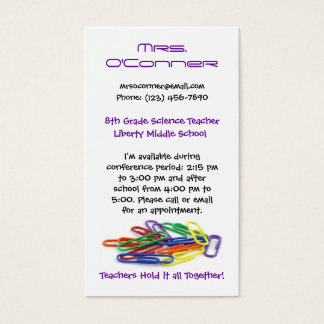 Teachers Hold it Together Paperclips Info Business Card