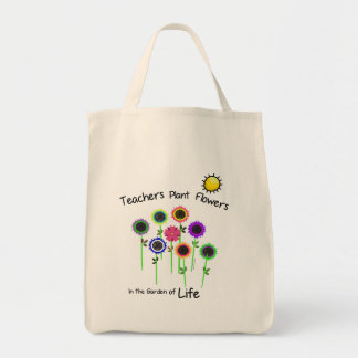 Teacher's Plant Flowers grocery tote