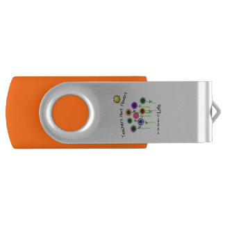 Teacher's Plant Flowers two tone USB Swivel USB 2.0 Flash Drive