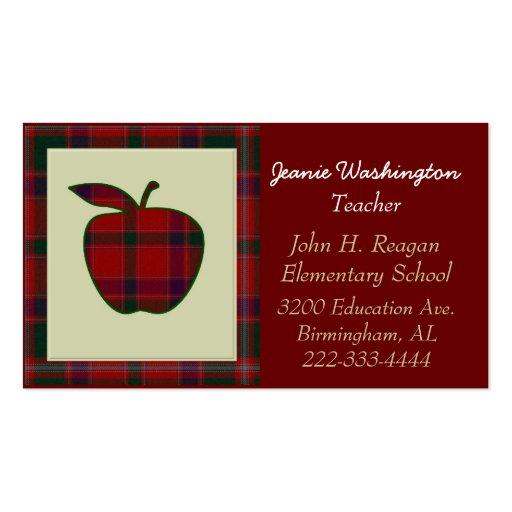 Teacher s Red Plaid Apple Business Card