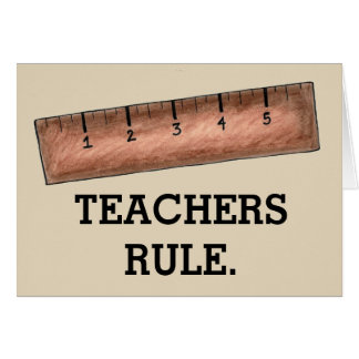 TEACHERS RULE School Education Wooden Ruler Class Card