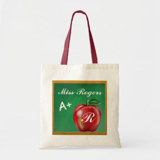 Teachers Students A+ Red Apple Green Chalkboard Tote Bag