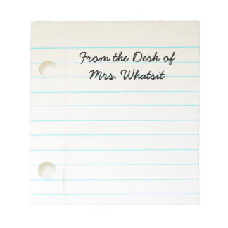 Teachers Students Notebook Paper Notepad