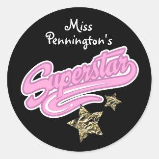 Teachers 'Superstar' Reward Classic Round Sticker
