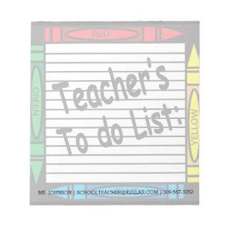 Teachers to do List Notepad