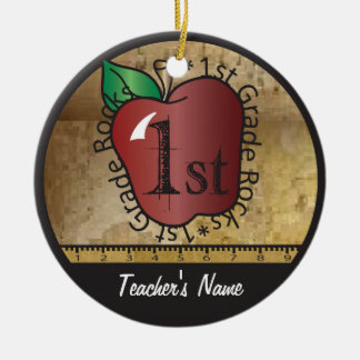 Teacher's Vintage Style 1st Grade | Chalkboard Ceramic Ornament