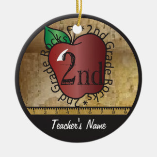 Teacher's Vintage Style 2nd Grade | Chalkboard Ceramic Ornament