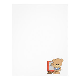 teaching ABCs cute teacher teddy bear design Letterhead Template