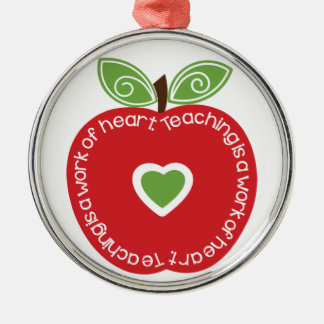 Teaching is a Work of Heart Apple Ornament