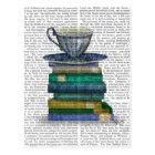 Teacup and Books Postcard