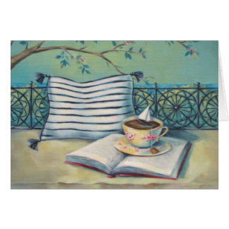 Teacup & Book Pastel Colored Art Card