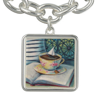 Teacup Book & Sailboat Silver Charm Bracelet