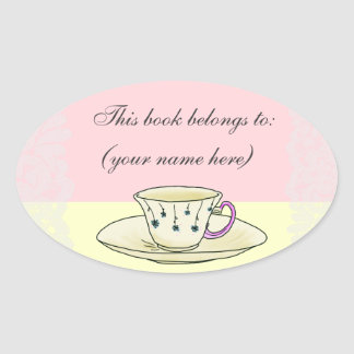Teacup bookplate, round oval sticker
