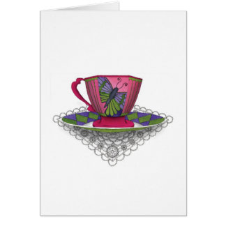 Teacup Butterfly Greeting Card