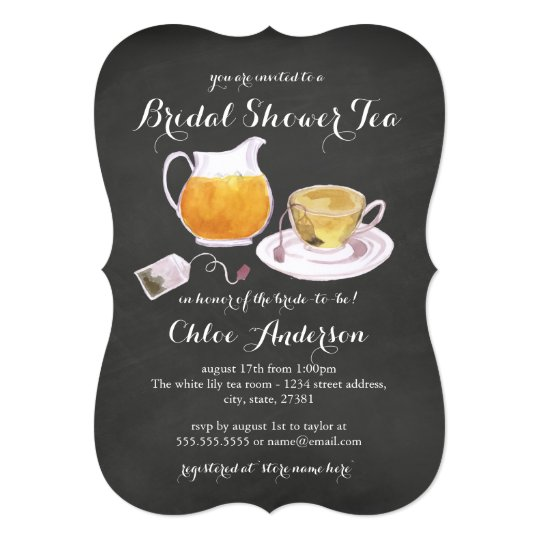 Teacup Chalkboard Bridal Shower Tea Party Invite