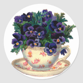 Teacup Flowers Round Sticker
