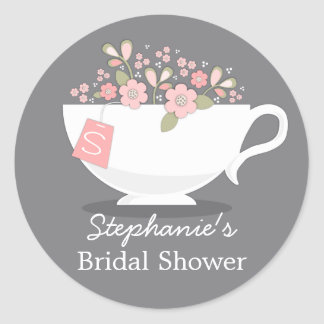 Teacup Pink Floral Monogram Bridal Shower Sticker
