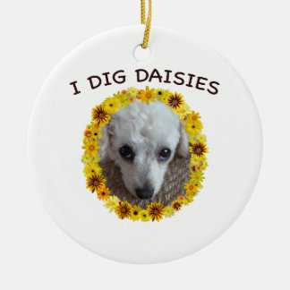 Teacup Poodle Dog Digs Daisies Round Ceramic Ornament