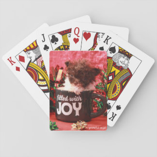 Teacup poodle puppy christmas playing cards
