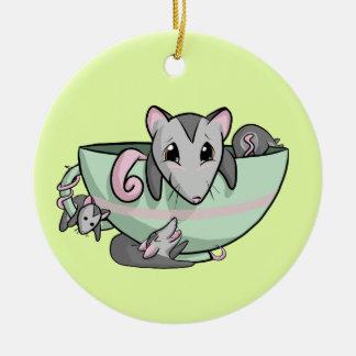 Teacup Possum! Round Ceramic Ornament