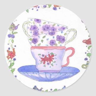 Teacup Stack Tea Time Classic Round Sticker