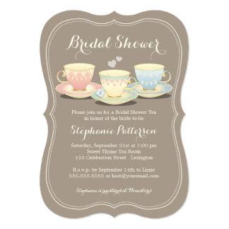 Teacup Trio Chic Bridal Shower Tea Party 5x7 Paper Invitation Card