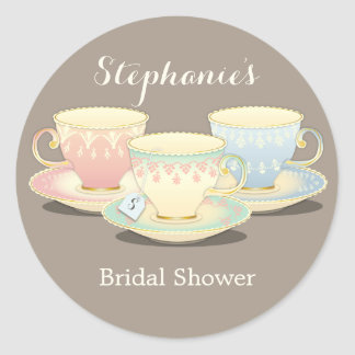 Teacup Trio Chic Bridal Shower Tea Party Sticker