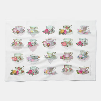 Teacups Tea Cups Pink Roses Floral Tea Cups Kitchen Towel
