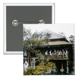 Teahouse Geisha of Old Japan Vintage Japanese 2 Inch Square Button
