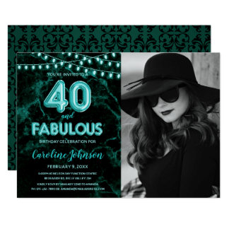 Teal 40th Birthday Party  - 40 & Fabulous Card