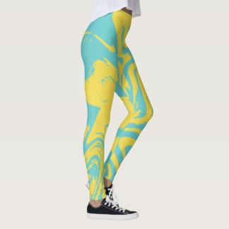Teal abstract digital print legging