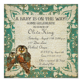 """Teal Amber Owls  Baby Shower Invitation 5.25"""" Square Invitation Card"""