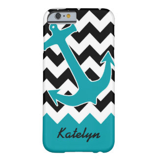 Teal Anchor & Chevron Barely There iPhone 6 Case